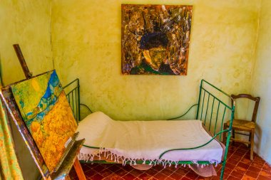 SAINT REMY EN PROVENCE, JUNE 21, FRANCE 2017: Personal room of Vincent Van Gogh at the monastery of Saint Paul of Mausole in Saint Remy en Provence, Franc