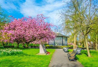 View of a blossoming garden inside of the Nottingham castle, Englan