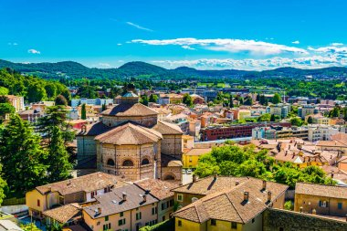 Aerial view of the church of Saint Cosma and Damiano at Mendrisio in Switzerlan