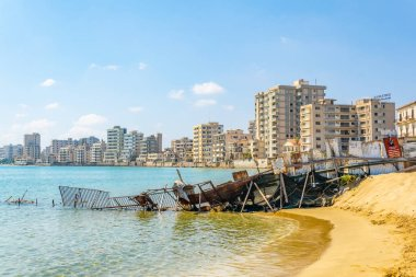 Ruins of hotels at Varosia district of Famagusta, Cypru