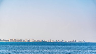 Seaside of Varosia with spectacular ruins of hotels, Famagusta, Cypru