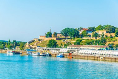 View of riverside of Sava dominated by Kalemegdan fortress in Belgrade, Serbia