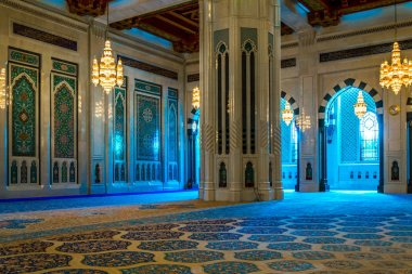MUSCAT, OMAN, NOVEMBER 1, 2016: Interior of the Sultan Qaboos Grand Mosque in Muscat, Oman