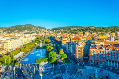 NICE, FRANCE, DECEMBER 28, 2017: Aerial view of Massena square in Nice during Christmas, France