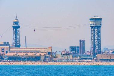 Cable car over Barceloneta beach in Barcelona, Spain