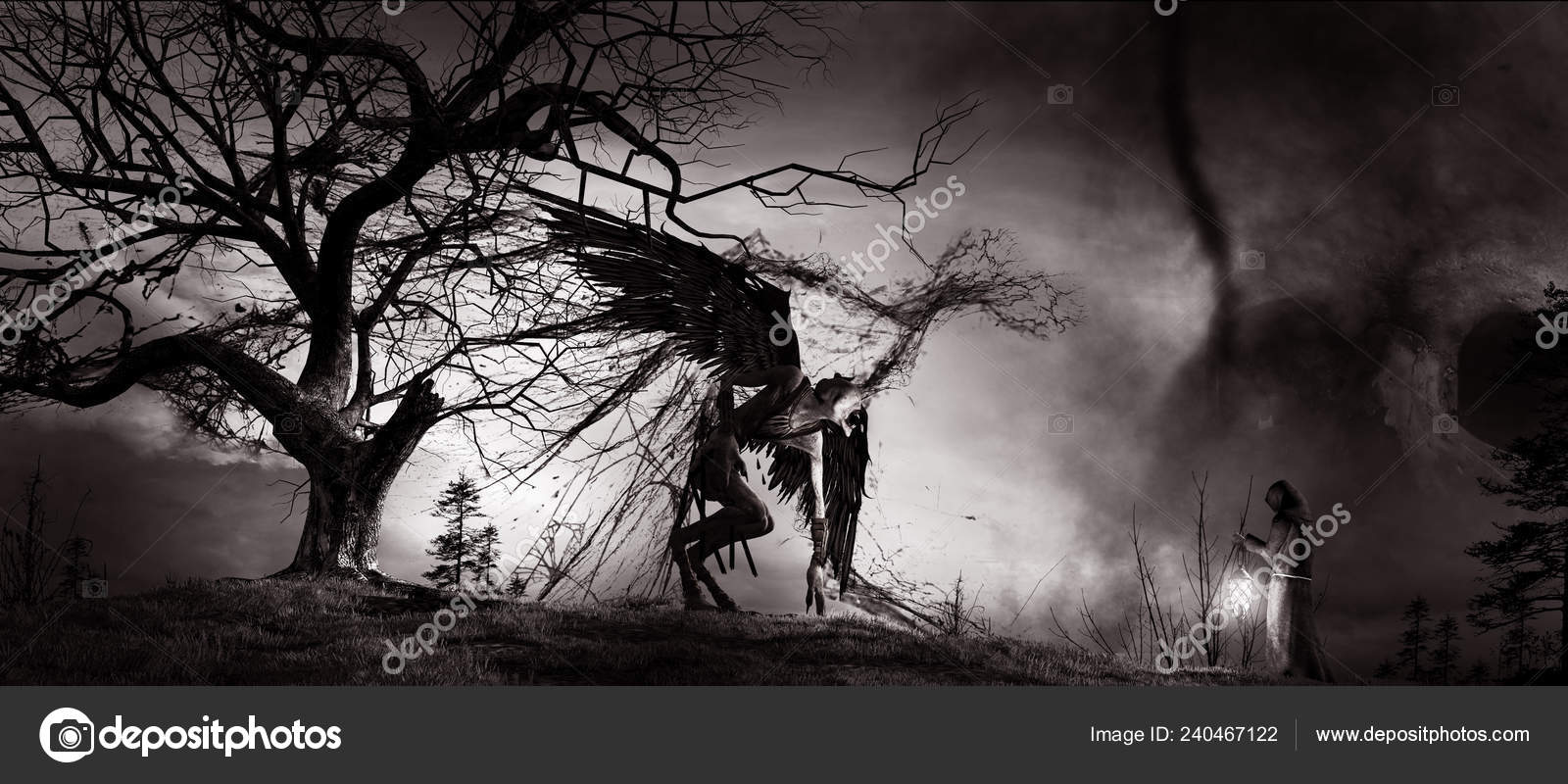 Gothic Scenery Creepy Tree Demon Monk Lantern Stock Photo C Mppriv 240467122