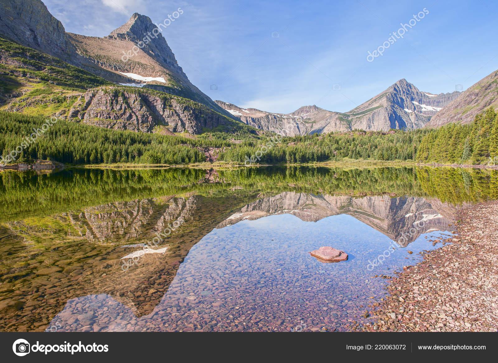 reflexo monte grinnell redrock lago muitos Área glaciar glacier