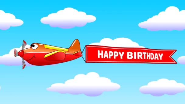 Cartoon Airplane Towing Banner Happy Birthday Caption Stock Video C Zerg3d 218452254