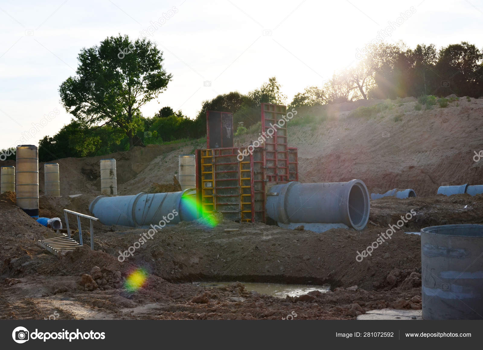 Laying Replacement Underground Storm Sewer Pipes Installation Water