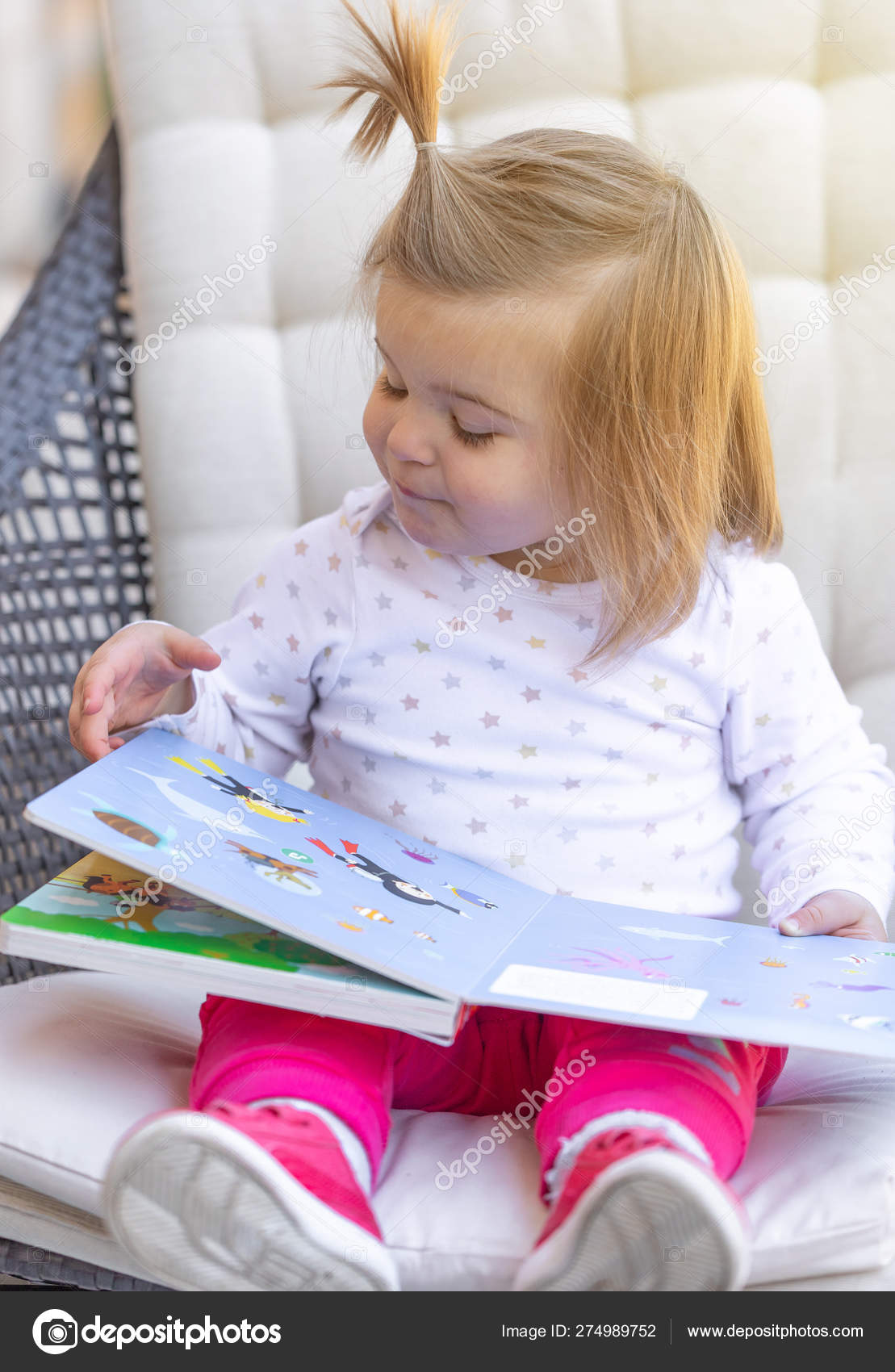 Baby Girl Read Book Child Cute Face Stock Photo