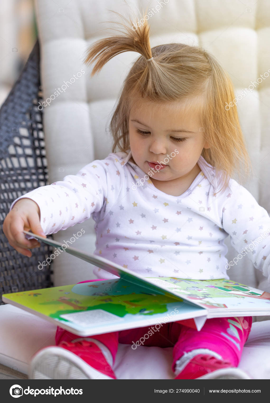 Baby Cute Girl Read Book Child Face Stock Photo