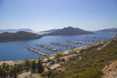 Aerial panoramic view marina of popular resort city Kas in Turkey