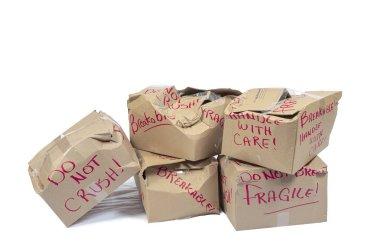 Crushed Do Not Crush Boxes Isolated On White