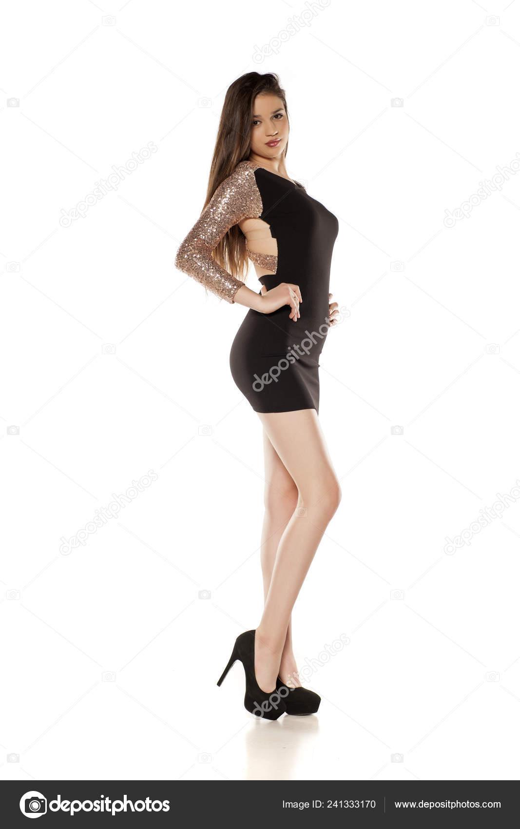 Young Girl Tight Black Dress High Heels