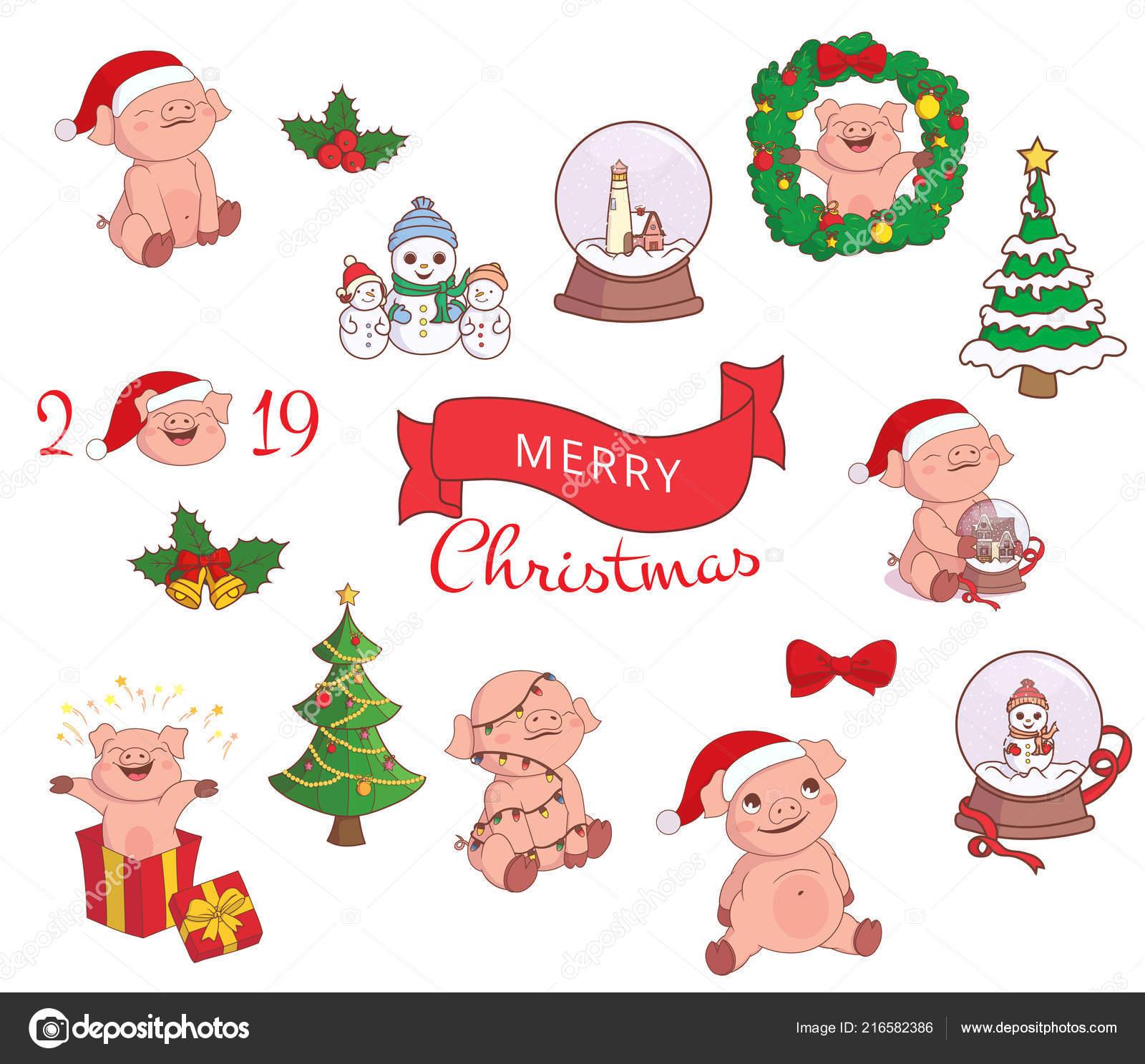 Conjunto Elementos Navidad Año Nuevo Los Iconos Cerdo Sombrero Papá ...