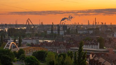 View of the shipyard with historical cranes in the industrial part of the city Gdansk/Poland at the sunrise.