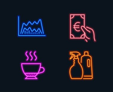 Set of Espresso, Shampoo and spray, Trade chart and Finance icons on black background