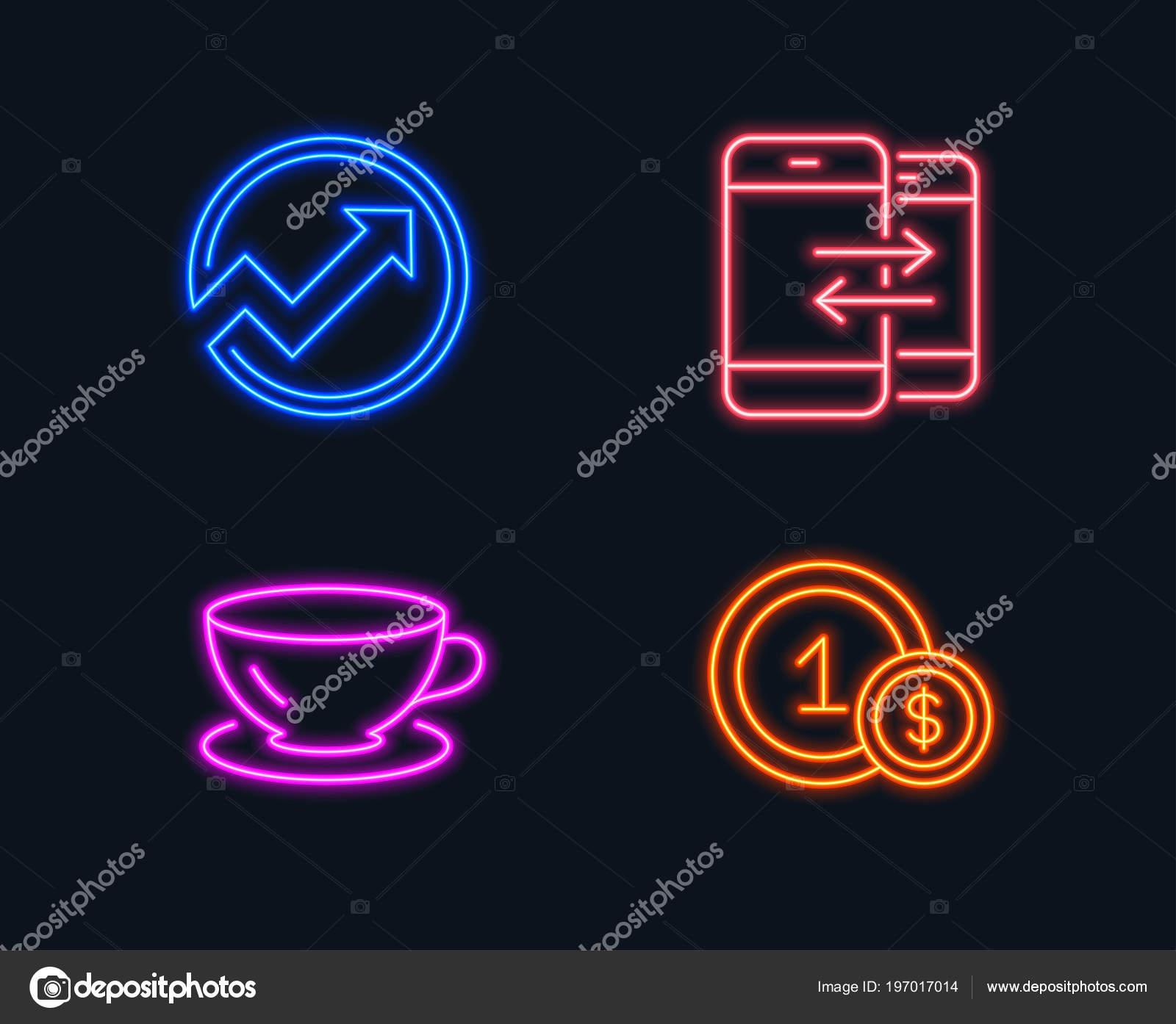 Neon Verlichting Set Van Audit Espresso Telefoon Mededeling Iconen ...