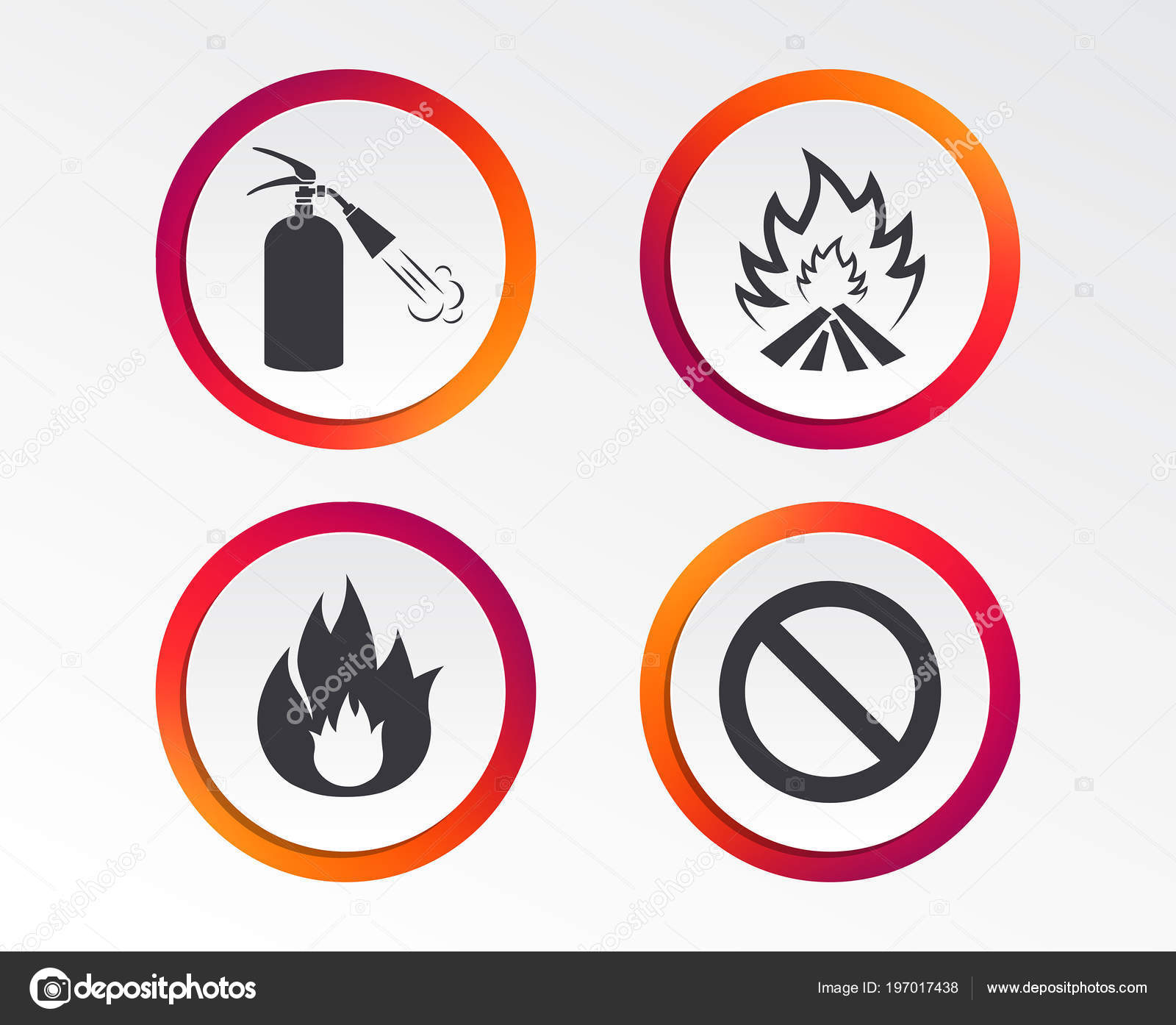Fire Flame Icons Fire Extinguisher Sign Prohibition Stop Symbol