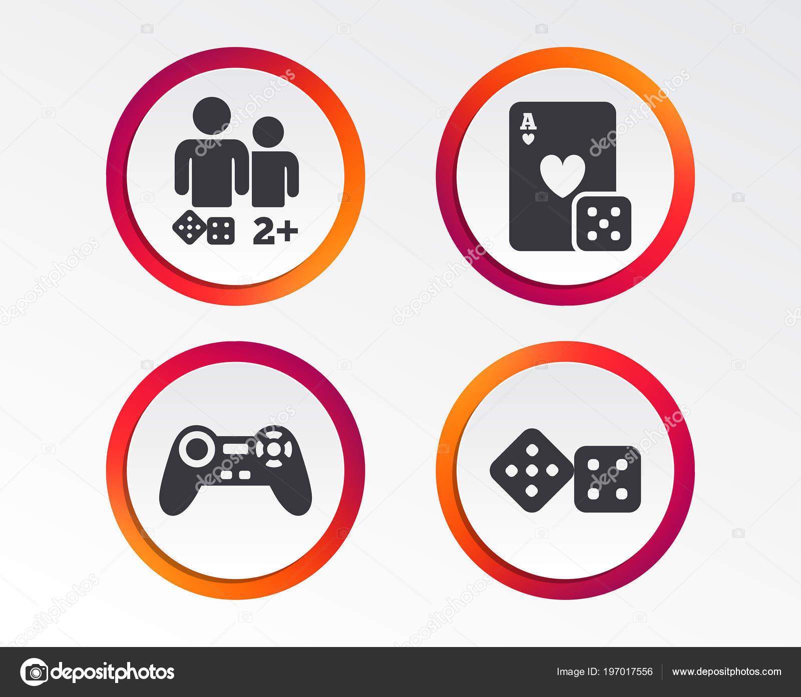 Gamer Symbole Brettspiele Spieler Zeichen Video Spiel Joystick ...