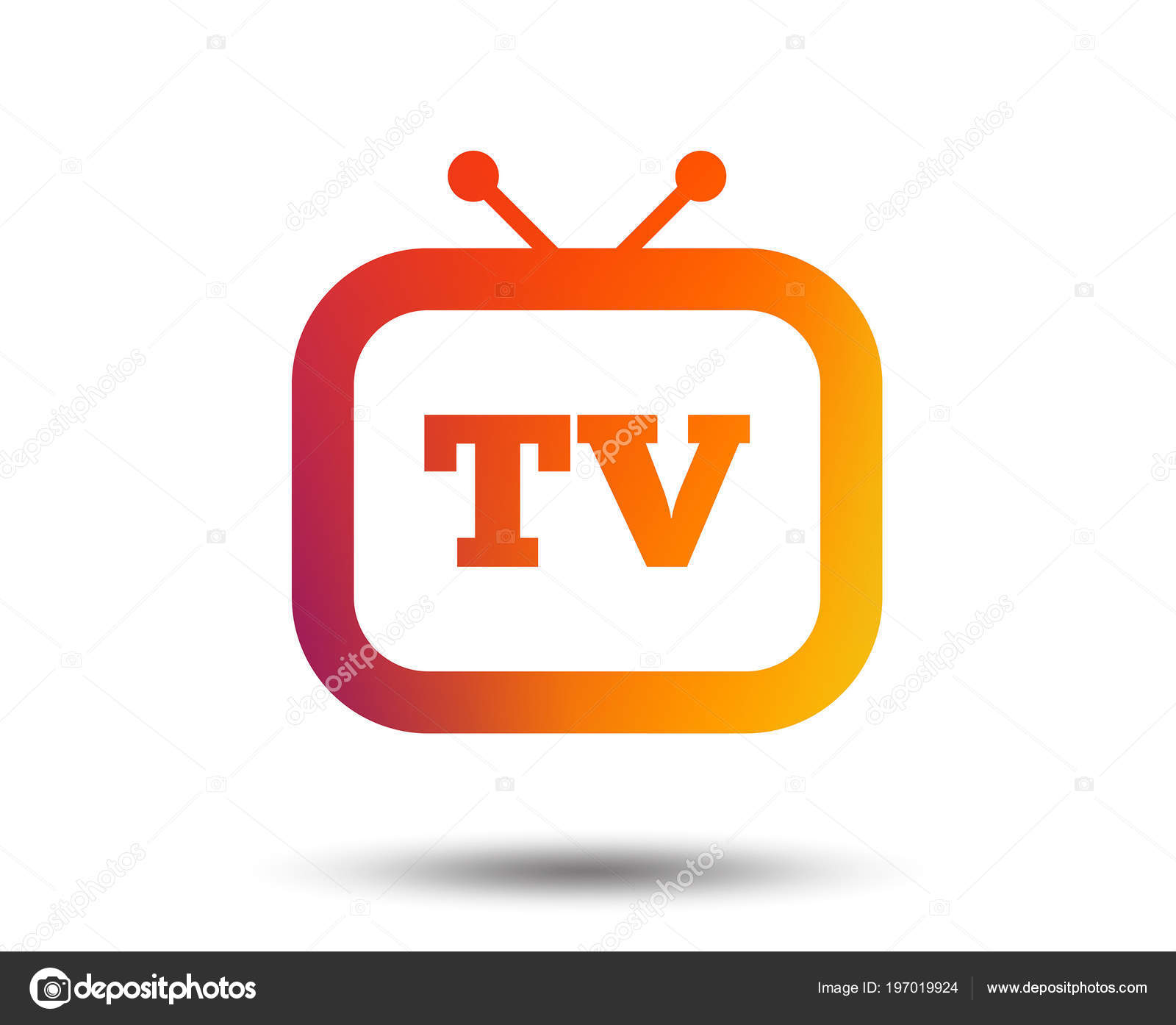 Retro Sign Icon Television Set Symbol Blurred Gradient Design