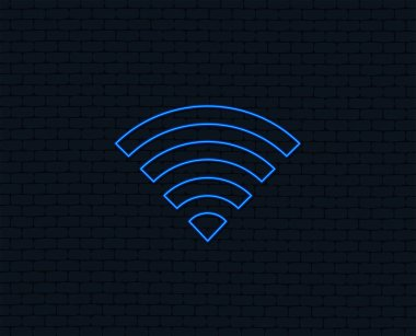 Neon light. Wifi sign. Wi-fi symbol. Wireless Network icon