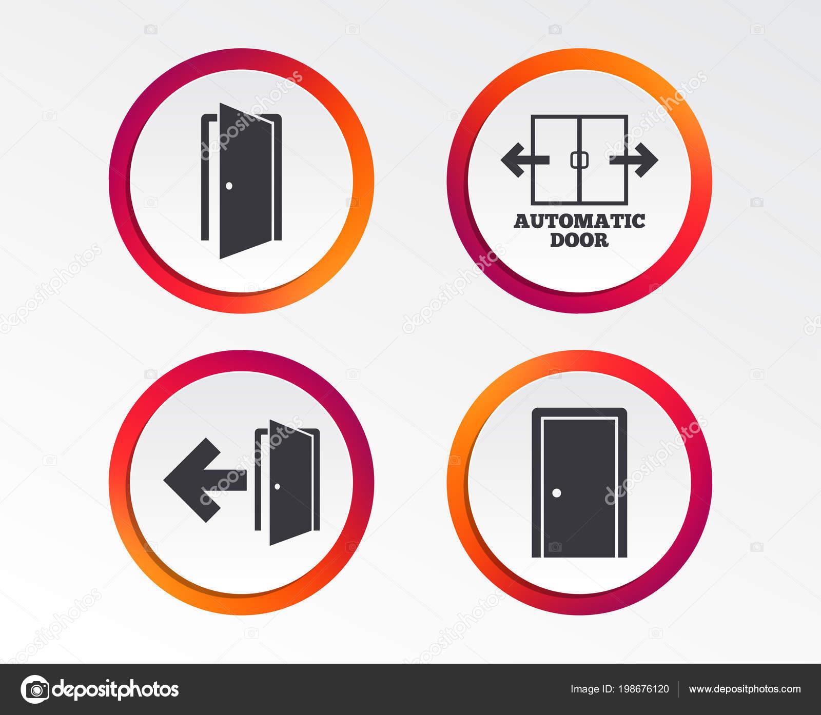 automatic door icon emergency exit arrow symbols fire exit signs