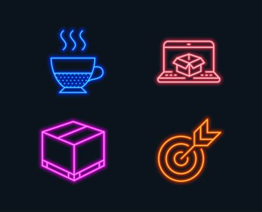 Neon lights. Set of Online delivery, Doppio and Delivery box icons. Target sign. Parcel tracking website, Coffee drink, Cargo package. Targeting.  Glowing graphic designs. Vector