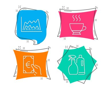 Set of Espresso, Trade chart and Finance icons. Shampoo and spray sign. Hot drink, Market data, Eur cash. Washing liquids.  Flat geometric colored tags. Vivid banners. Trendy graphic design. Vector