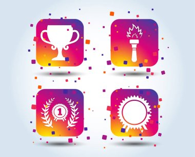 First place award cup icons. Laurel wreath sign. Torch fire flame symbol. Prize for winner. Colour gradient square buttons. Flat design concept. Vector
