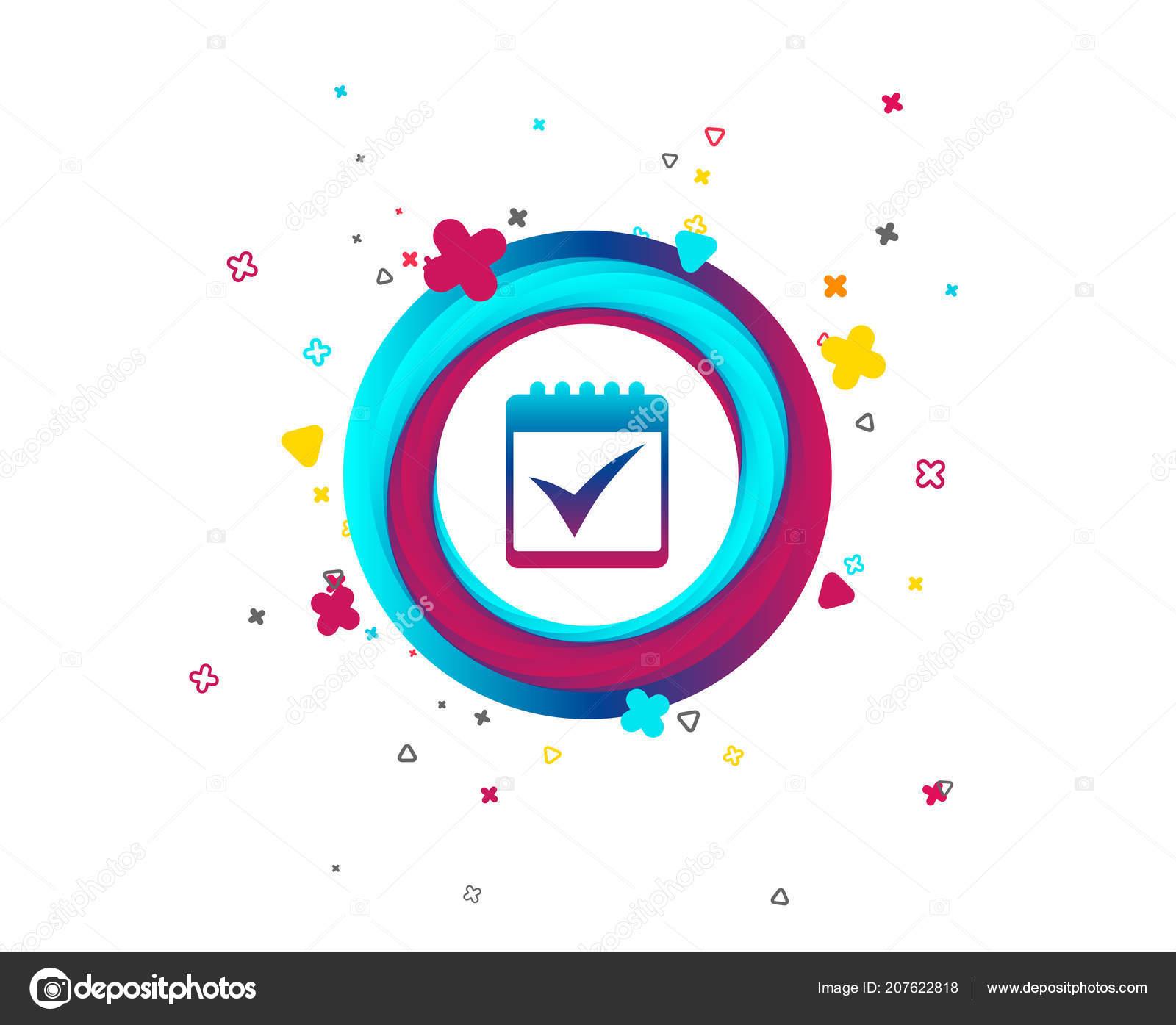 Calendar Sign Icon Check Mark Symbol Colorful Button Icon Geometric