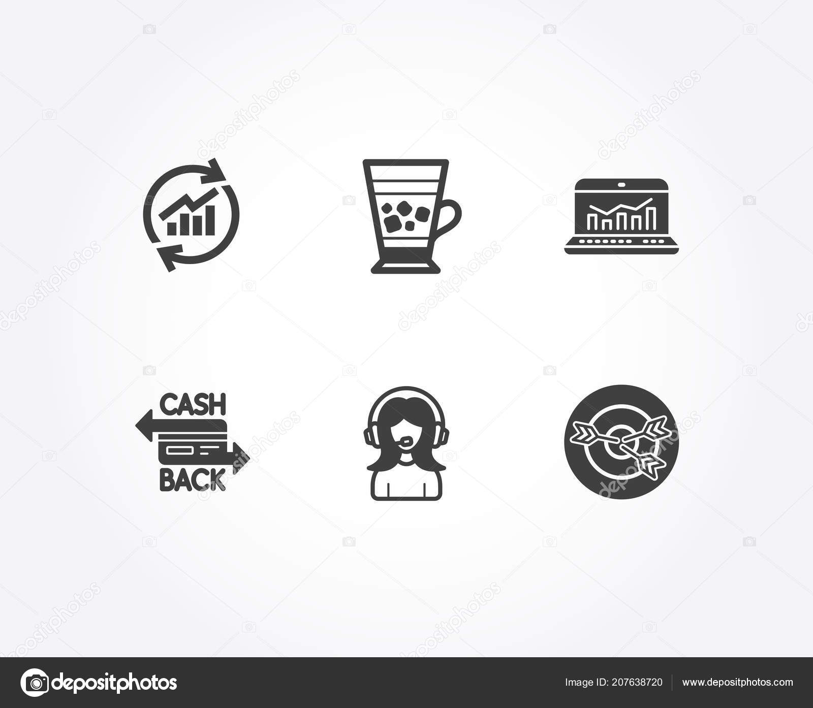Set Update Data Web Analytics Cashback Card Icons Support