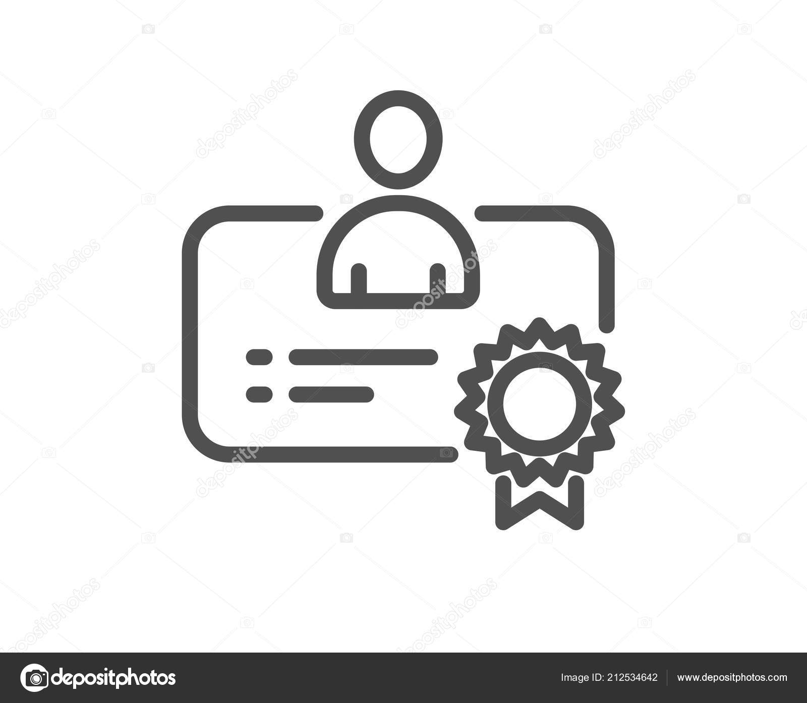 Certificate Line Icon Business Management Sign Best Manager Symbol