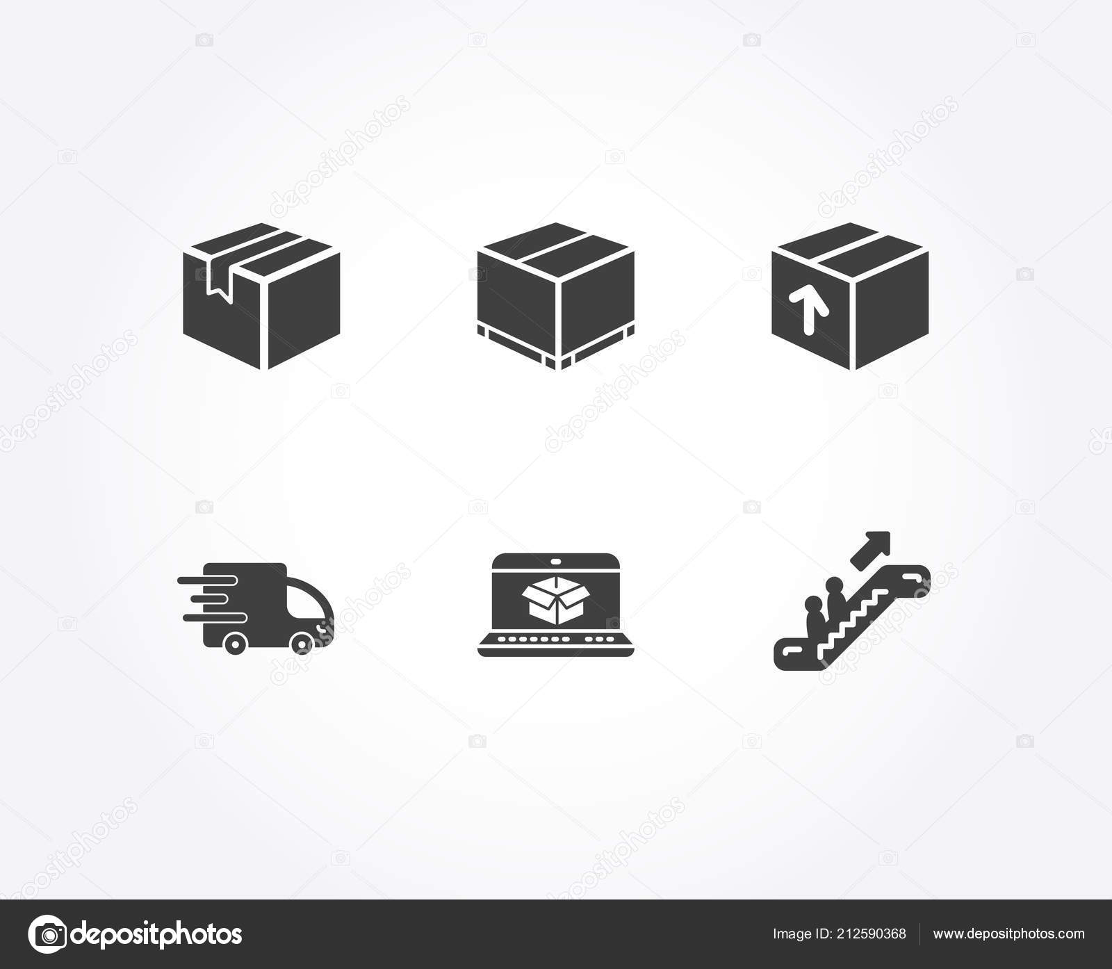 c5b66e5d09 Szett, csomag, Online szállítás és a szállítási box ikonok. Aláírja a  csomagot, mozgólépcső. Csomagkövető honlapján, rakomány csomag, Express  szolgáltatás.