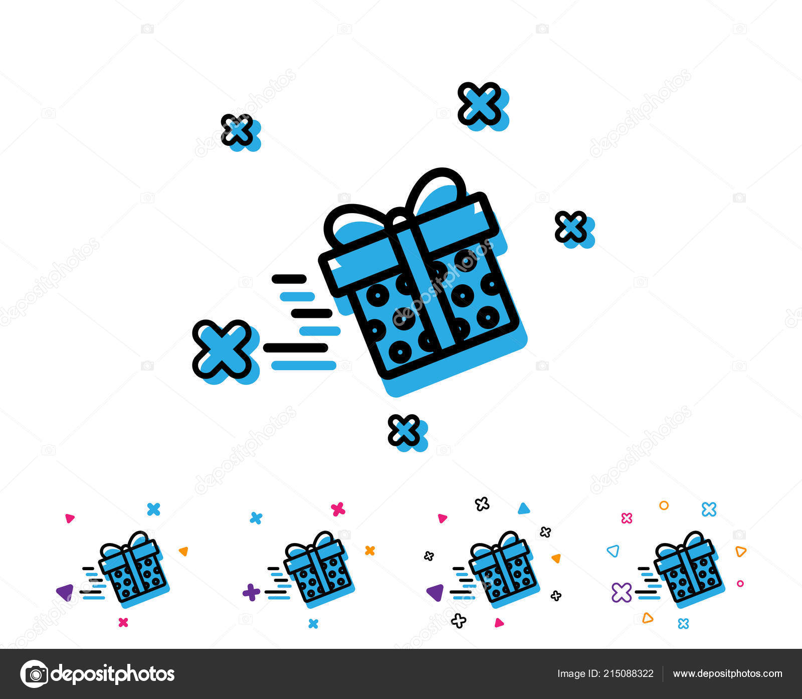 Gift Box Delivery Line Icon Present Sale Sign Birthday Shopping Stock Vector