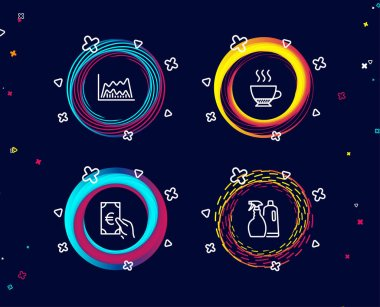 Set of Espresso, Trade chart and Finance colorful vector icons on dark background