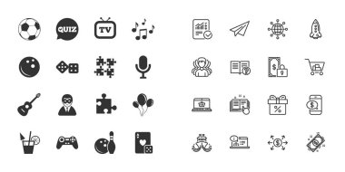 Set of Games, Entertainment and Services icons. Football, Bowling and Puzzle signs. Casino, Carnival and Music symbols. Paper plane, report and shopping cart icons. Group of people. Vector