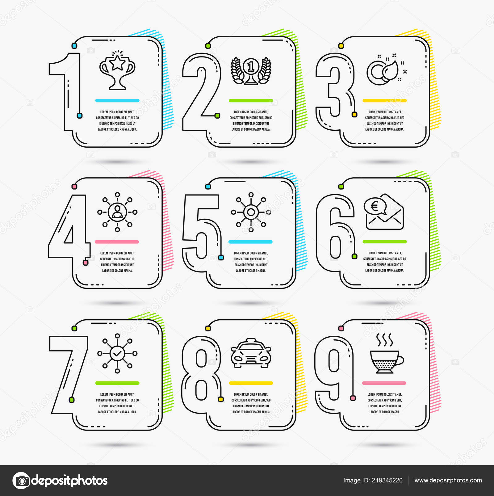 infographic template numbers options set laureate award taxi