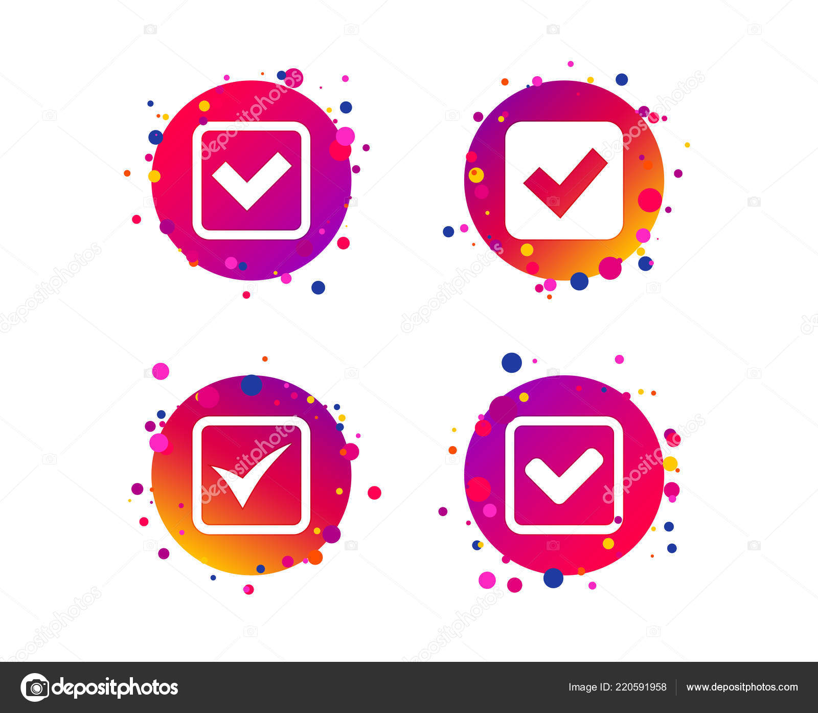 Check Icons Checkbox Confirm Squares Sign Symbols Gradient