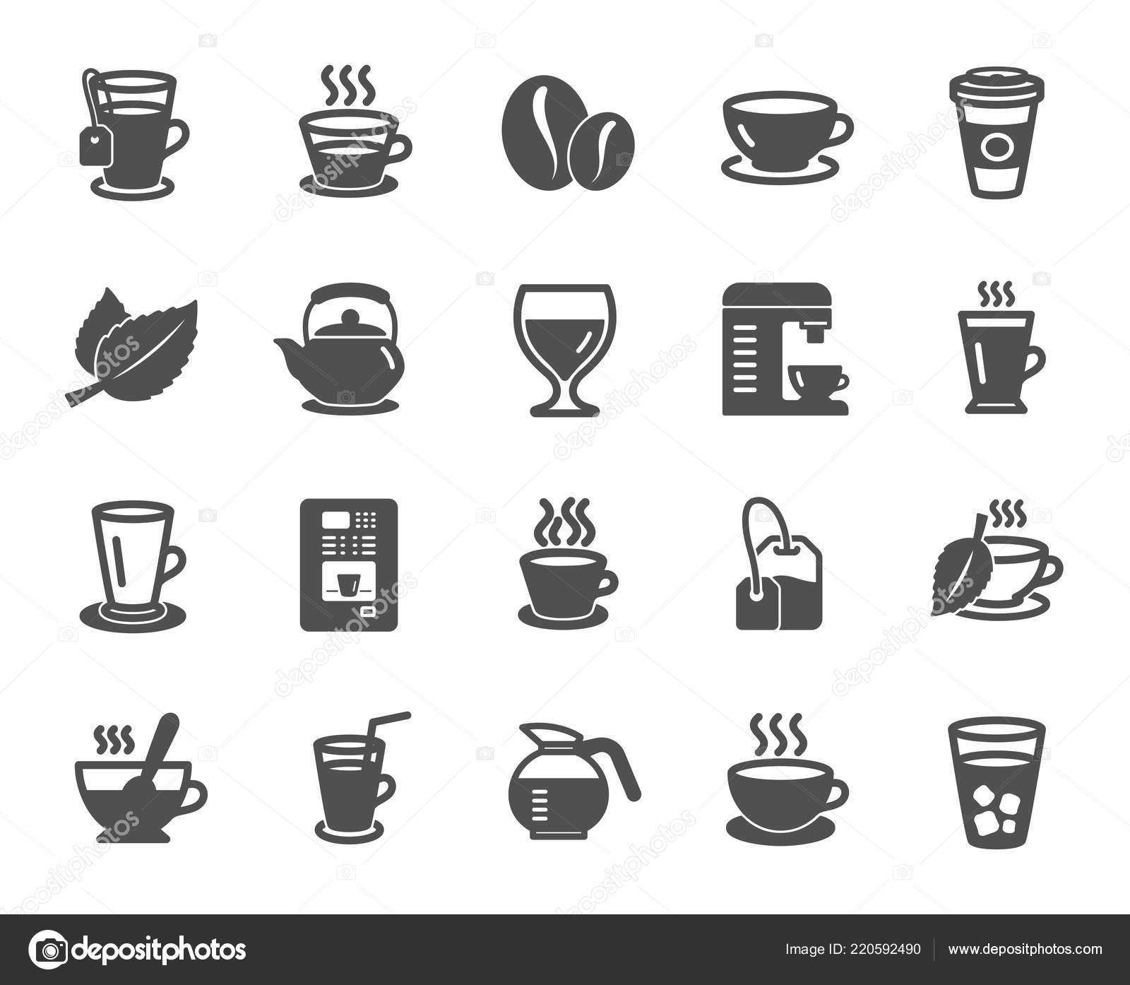 Coffee Tea Icons Set Cappuccino Juice Ice Latte Signs Teapot Stock