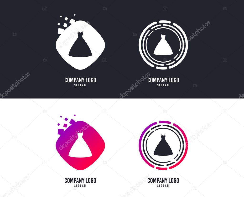 Logotype concept. Woman dress sign icon. Elegant bride symbol. Logo design. Colorful buttons with icons. Vector