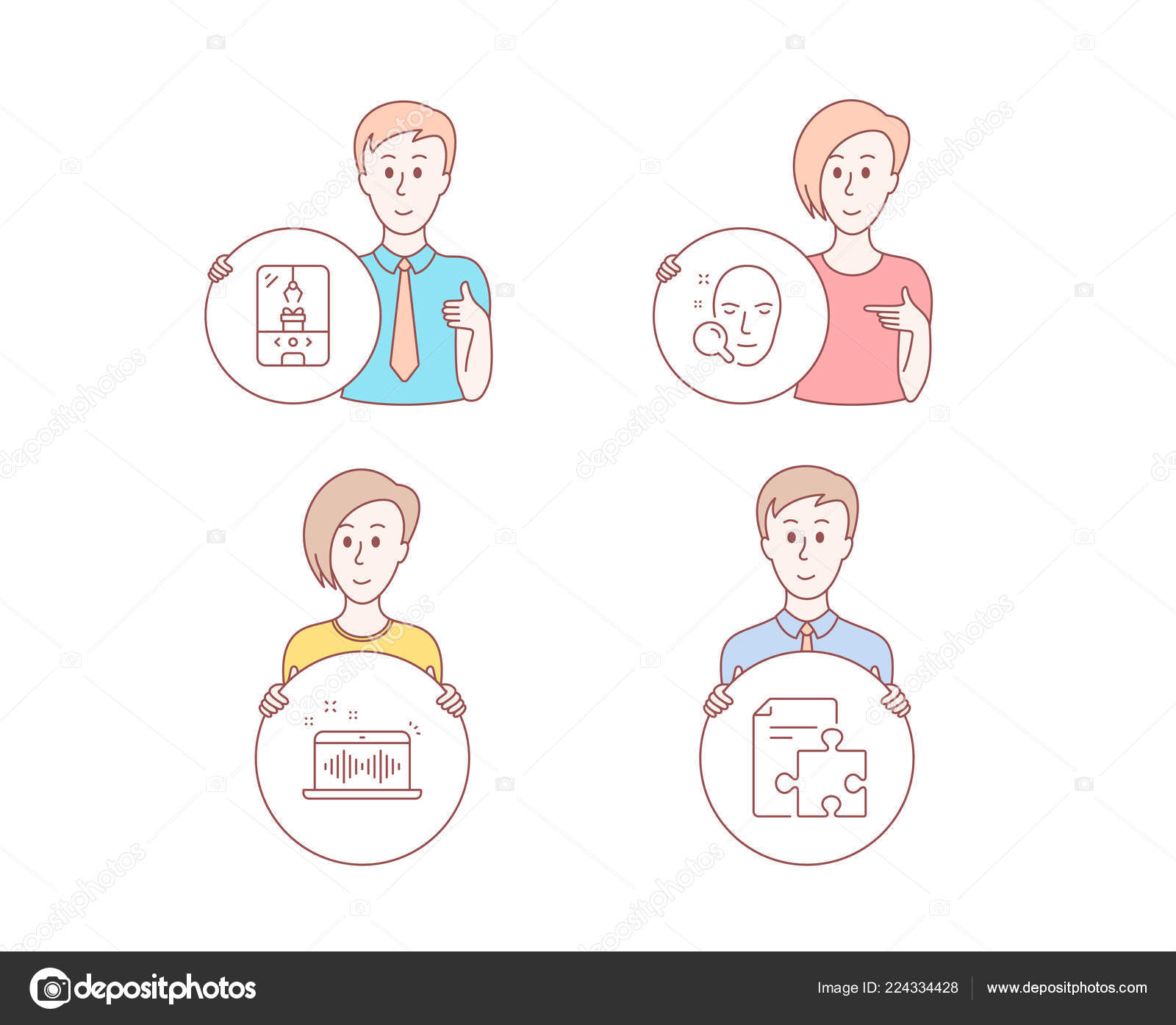 People Hand Drawn Style Set Face Search Crane Claw Machine