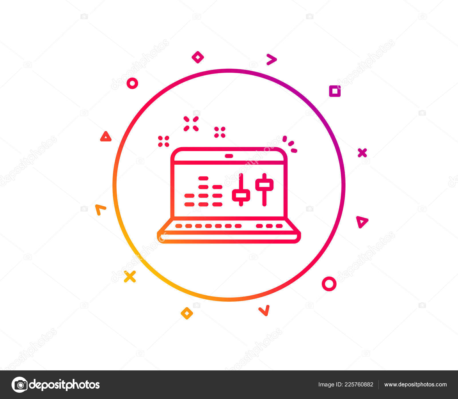 Sound Check Line Icon Controller Sign Musical App Laptop Symbol