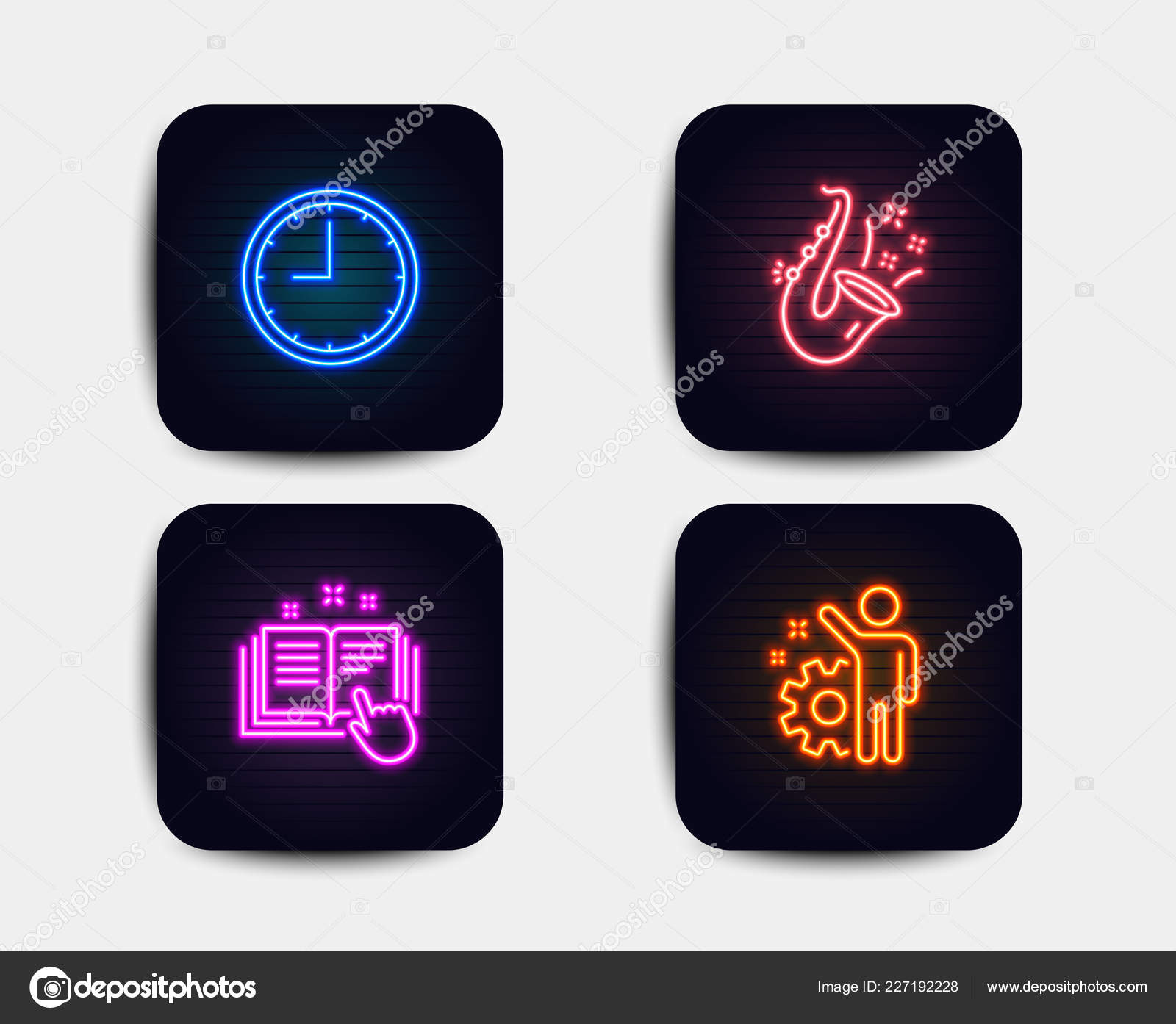 Neon Set Time Jazz Technical Documentation Icons Employee