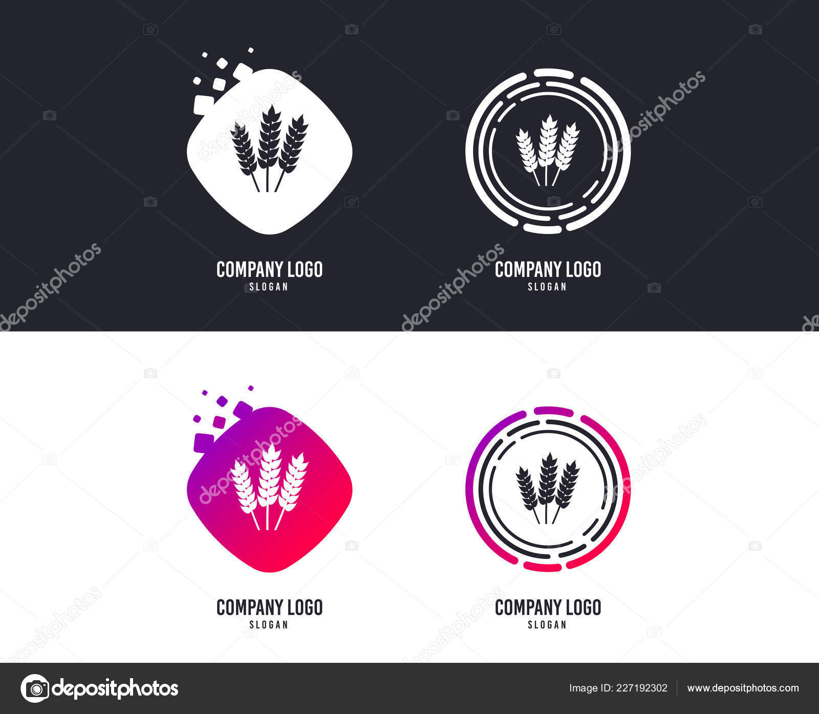 Logotype Concept Agricultural Sign Icon Gluten Free Gluten