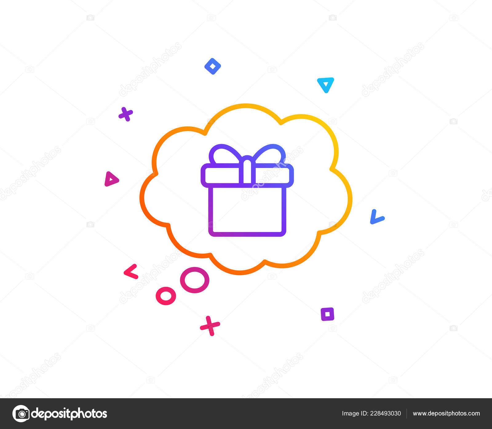 Traumen Sie Von Geschenk Linie Symbol Geschenkbox Comic Rede Blase
