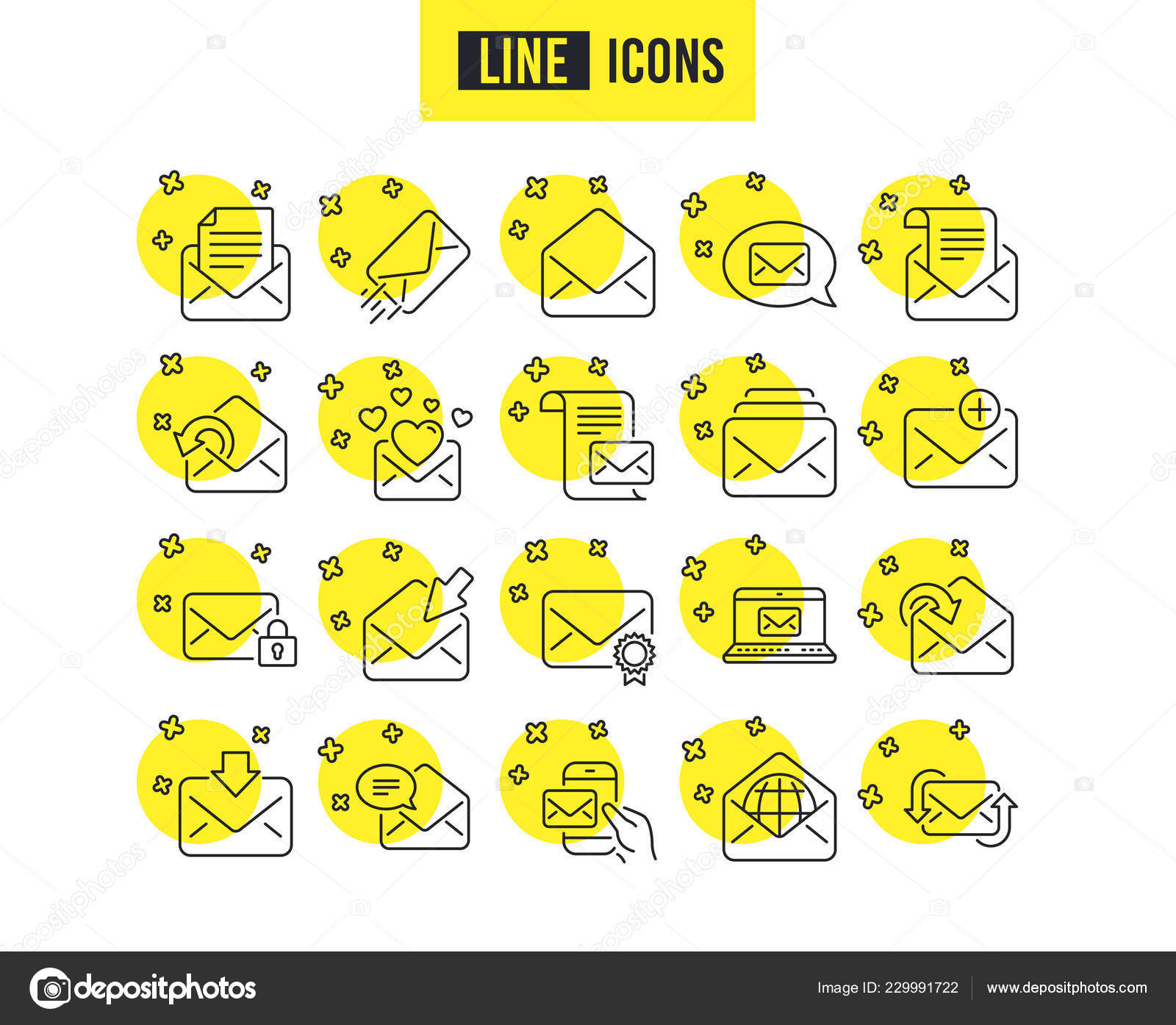 Courrier Messages Icônes Ligne Ensemble Newsletter Courriel