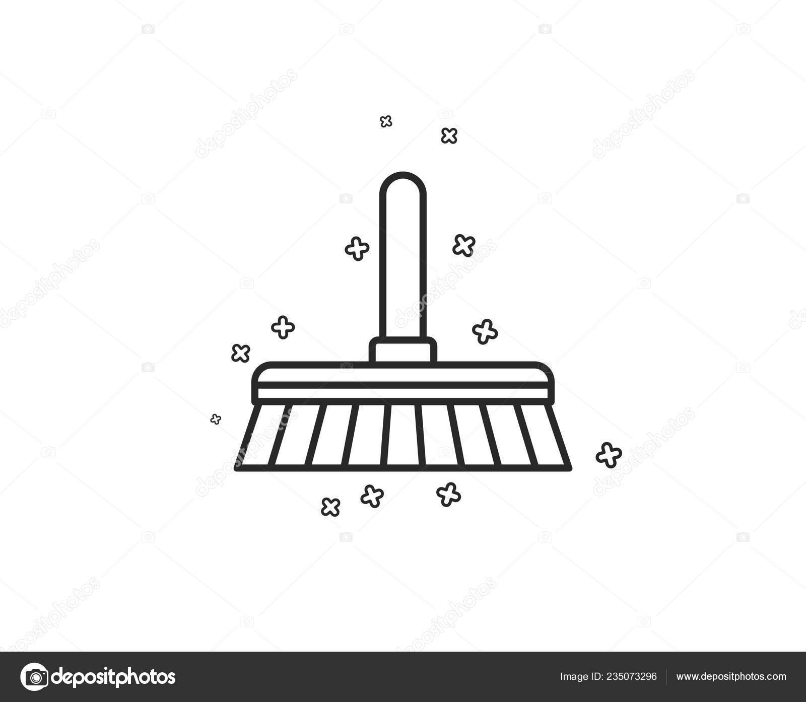 cleaning mop line icon sweep wash floor symbol washing housekeeping stock vector c blankstock 235073296 https depositphotos com 235073296 stock illustration cleaning mop line icon sweep html