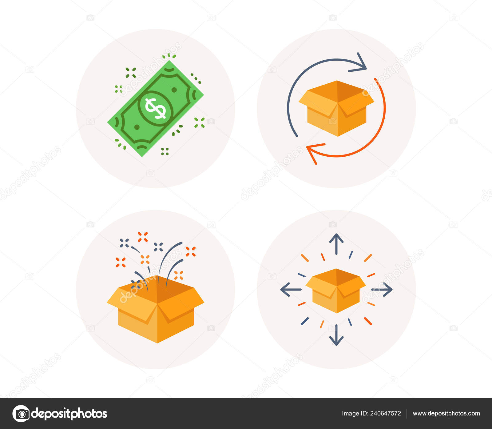 Set Of Gift Box Return Parcel And Dollar Money Icons Delivery Sign Birthday Present Exchange Goods Cash Payment Tracking