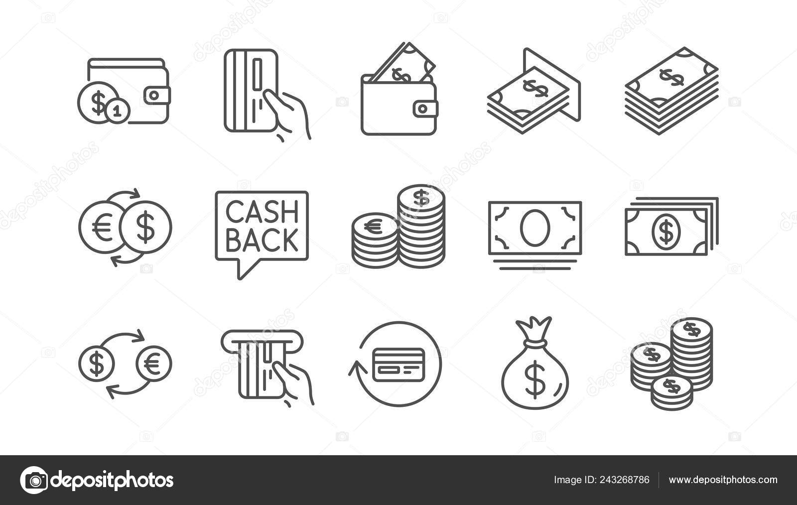 money payment line icons cash wallet coins account cashback linear stock vector c blankstock 243268786 money payment line icons cash wallet coins account cashback linear stock vector c blankstock 243268786